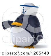 Clipart Of A 3d Sailor Penguin Presenting To The Left Royalty Free Illustration by Julos