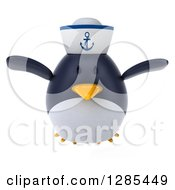 Clipart Of A 3d Sailor Penguin Flying Forward Royalty Free Illustration by Julos