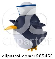 Clipart Of A 3d Sailor Penguin Flying To The Left Royalty Free Illustration by Julos