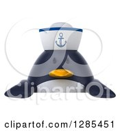Clipart Of A 3d Sailor Penguin Over A Sign Royalty Free Illustration by Julos