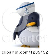 Clipart Of A 3d Full Length Sailor Penguin Looking Around A Sign Royalty Free Illustration by Julos
