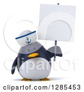 Clipart Of A 3d Sailor Penguin Holding A Blank Sign Royalty Free Illustration by Julos