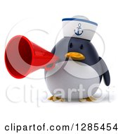 Clipart Of A 3d Sailor Penguin Announcing With A Megaphone Royalty Free Illustration by Julos