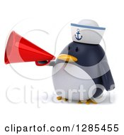 Clipart Of A 3d Sailor Penguin Facing Slightly Left And Announcing With A Megaphone Royalty Free Illustration by Julos