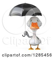 Clipart Of A 3d White Duck With A Black Umbrella Royalty Free Illustration
