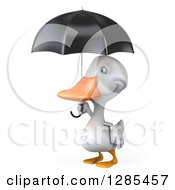 Clipart Of A 3d White Duck Facing Left With A Black Umbrella Royalty Free Illustration