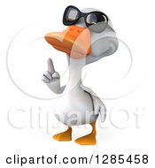 Clipart Of A 3d White Duck Wearing Sunglasses And Pointing Upwards Royalty Free Illustration