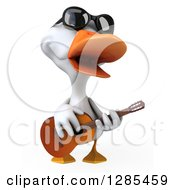 Clipart Of A 3d White Duck Wearing Sunglasses And Playing A Guitar Royalty Free Illustration