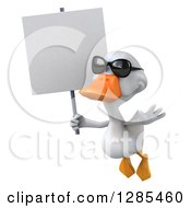 3d White Duck Wearing Sunglasses Flying Slightly Left And Holding A Blank Sign