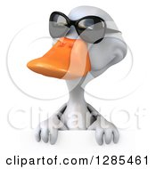 Clipart Of A 3d White Duck Wearing Sunglasses Over A Sign Royalty Free Illustration