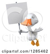 Clipart Of A 3d White Duck Flying Slightly Left And Holding A Blank Sign Royalty Free Illustration