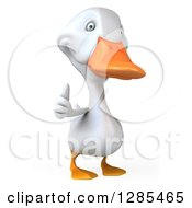 Clipart Of A 3d White Duck Giving A Thumb Up Royalty Free Illustration