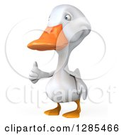 Clipart Of A 3d White Duck Facing Slightly Left And Giving A Thumb Up Royalty Free Illustration