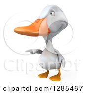 Clipart Of A 3d White Duck Pointing To The Left Royalty Free Illustration