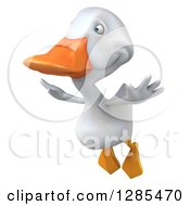 Clipart Of A 3d White Duck Flying Slightly To The Left Royalty Free Illustration