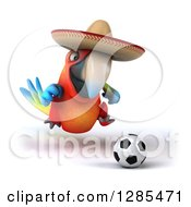 Clipart Of A 3d Scarlet Macaw Parrot Wearing A Sombrero And Playing Soccer Royalty Free Illustration