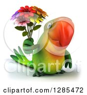 Clipart Of A 3d Green Macaw Parrot Holding A Bouquet Of Flowers Royalty Free Illustration