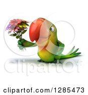 Clipart Of A 3d Green Macaw Parrot Facing Slightly Left And Holding A Bouquet Of Flowers Royalty Free Illustration
