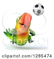 Clipart Of A 3d Green Macaw Parrot Playing Soccer Royalty Free Illustration