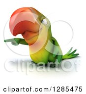 Clipart Of A 3d Green Macaw Parrot Pointing To The Left Royalty Free Illustration