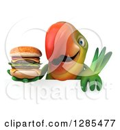 Clipart Of A 3d Green Macaw Parrot Holding A Double Cheeseburger Over A Sign Royalty Free Illustration