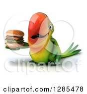 Clipart Of A 3d Green Macaw Parrot Holding A Double Cheeseburger And Facing Slightly Left Royalty Free Illustration