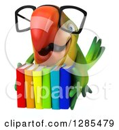 Clipart Of A 3d Bespectacled Green Macaw Parrot Flying With Colorful Books Royalty Free Illustration