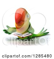 Clipart Of A 3d Green Macaw Parrot Presenting And Reading A Book Royalty Free Illustration