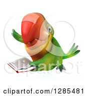 Clipart Of A 3d Green Macaw Parrot Smiling Flying And Reading A Book Royalty Free Illustration