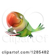 Clipart Of A 3d Green Macaw Parrot Flying And Reading A Book Royalty Free Illustration