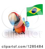Clipart Of A 3d Scarlet Macaw Parrot Holding A Brazil Flag Royalty Free Illustration