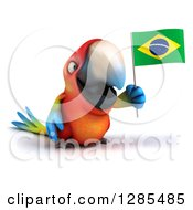 Clipart Of A 3d Scarlet Macaw Parrot Facing Slightly Right And Holding A Brazil Flag Royalty Free Illustration