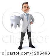 Clipart Of A 3d Young Brunette White Male Doctor Holding Out A Tooth Royalty Free Illustration