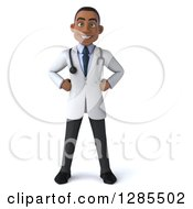 Clipart Of A 3d Young Black Male Doctor With Hands On His Hips Royalty Free Illustration by Julos