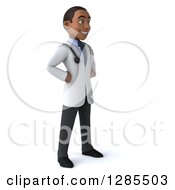 3d Young Black Male Doctor Facing Right With Hands On His Hips