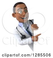 3d Young Black Male Doctor Pointing Around A Sign
