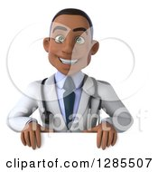 3d Young Black Male Doctor Smiling Over A Sign