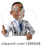 3d Happy Young Black Male Doctor Holding A Thumb Up Over A Sign