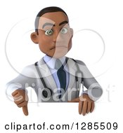 3d Unhappy Young Black Male Doctor Holding A Thumb Down Over A Sign