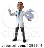 3d Young Black Male Doctor Holding Up A Finger And A Dollar Currency Symbol