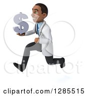 3d Young Black Male Doctor Running To The Left And Holding A Dollar Currency Symbol