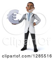 3d Young Black Male Doctor Holding A Euro Currency Symbol