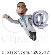 3d Young Black Male Doctor Flying And Holding An Email Arobase At Symbol