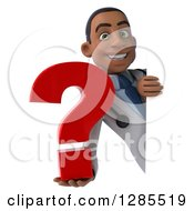 3d Young Black Male Doctor Holding A Question Mark Around A Sign