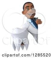 3d Young Black Male Doctor Holding A Tooth Around A Sign