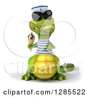 Clipart Of A 3d Sailor Crocodile Wearing Sunglasses Holding And Pointing To An Ice Cream Cone Royalty Free Illustration