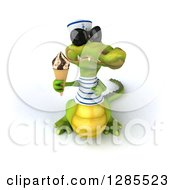 Clipart Of A 3d Sailor Crocodile Wearing Sunglasses And Holding Up An Ice Cream Cone Royalty Free Illustration