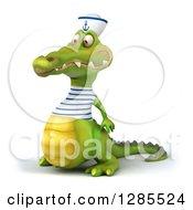 Clipart Of A 3d Sailor Crocodile Facing Slightly Left Royalty Free Illustration