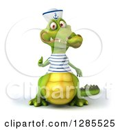 Clipart Of A 3d Sailor Crocodile Giving A Thumb Up Royalty Free Illustration