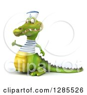 Clipart Of A 3d Sailor Crocodile Facing Slightly Left And Giving A Thumb Up Royalty Free Illustration